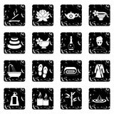 Spa treatments icons set Stock Photos