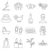 Spa treatments icons set, outline style Stock Photography