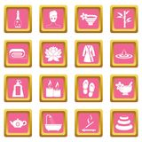 Spa treatments icons pink Stock Image