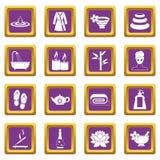 Spa treatments icons set purple Royalty Free Stock Photo
