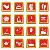 Spa treatments icons set red Royalty Free Stock Photo