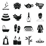 Spa treatments icons set, simple style Royalty Free Stock Photography
