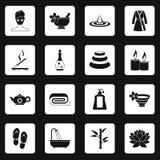 Spa treatments icons set squares vector Royalty Free Stock Photo