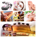 Spa treatments and massages. Collection of spa treatments and massages Royalty Free Stock Image
