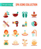 Spa treatments for men and women. Set of spa and beauty flat icons. Healthcare salon, haircut, skin care, herbal therapy Stock Photos