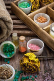 Spa treatments. Sea salt and accessories for a rejuvenating Spa sessions Stock Photo