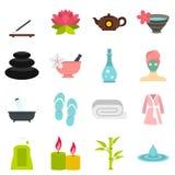 Spa treatments set flat icons Stock Images