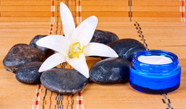 Spa treatments on the stones with cream Stock Photos