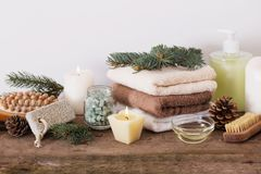 Spa treatments on wooden background Stock Photography