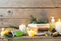 Spa treatments on wooden background Royalty Free Stock Photography