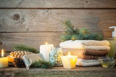 Spa treatments on wooden background Stock Images