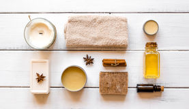 Spa treatments on wooden background top view.  Stock Images