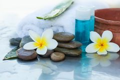 Spa Tube with oil for massage and flowers. And stones royalty free stock images