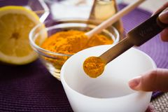 SPA Turmeric face mask set. Making of the Turmeric face mask receipt set for SPA resort Royalty Free Stock Photo