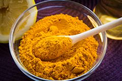 SPA Turmeric face mask set. Making of the Turmeric face mask receipt set for SPA resort Stock Photography
