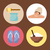 Spa utensils icons set Royalty Free Stock Photography
