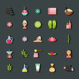 Spa utensils icons set Royalty Free Stock Image