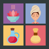 Spa utensils icons set Stock Images