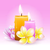 SPA. Vector still life on spa theme with frangipani, candles and lotus on pink background Royalty Free Stock Photo