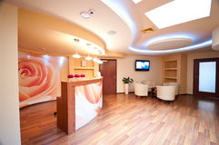 SPA waiting room. A small SPA waiting room with comfortable armchairs and reception desk