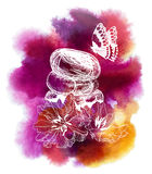 Spa watercolor background with flowers and Butterfly Stock Images