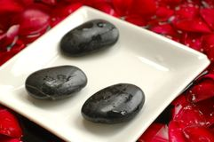 Spa and wellness. Black therapy stones in a spa Stock Photo