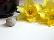 Spa and wellness. Preparing an aromatherapy session, flowers and stone Royalty Free Stock Image