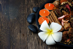 Spa and Wellness. Concept with cinnamon and candle Royalty Free Stock Images