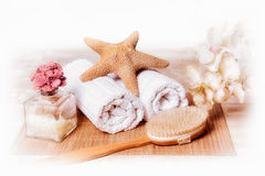 Spa and Wellness. Spa accessories over blue sky Stock Photography