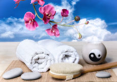 Spa and Wellness. Spa accessories over blue sky Royalty Free Stock Photos