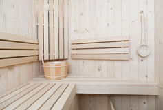 Spa and wellness accessores in sauna Royalty Free Stock Photos