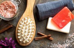 Spa and Wellness - Bath brush, Towel, Sea salt and Homemade soap Royalty Free Stock Photo