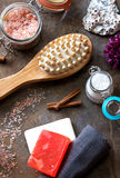 Spa and Wellness - Bath brush, Towel, Sea salt and Homemade soap Stock Photography