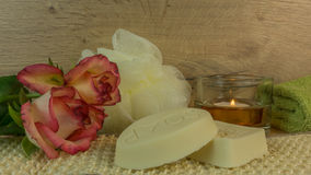 Spa and wellness with bath salt, candles Stock Photo