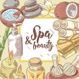 Spa Wellness Beauty Hand Drawn Background. Aromatherapy Health Elements Set. Skin Treatment. Vector illustration Stock Photos
