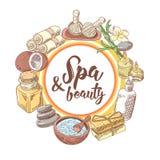 Spa Wellness Beauty Hand Drawn Background. Aromatherapy Health Elements Set. Skin Treatment. Vector illustration Stock Photo