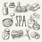 Spa Wellness Beauty Hand Drawn Doodle. Aromatherapy Health Elements Set. Skin Treatment. Vector illustration Royalty Free Stock Image