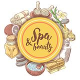 Spa Wellness Beauty Hand Drawn Doodle. Aromatherapy Health Elements Set. Skin Treatment. Vector illustration Royalty Free Stock Photos