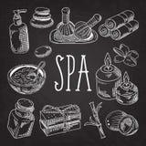 Spa Wellness Beauty Hand Drawn Doodle on Blackboard. Aromatherapy Health Elements Set. Skin Treatment. Vector illustration Royalty Free Stock Photography