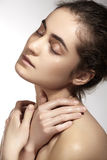 Spa, wellness and face care. Beautiful woman model with clean skin Stock Images