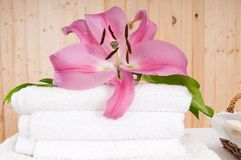 Spa and wellness flower and towels. Spa and wellness relax  flower and towels Stock Images