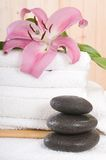 Spa and wellness flower and towels. Detalle of spa and wellness flower and towels Stock Image