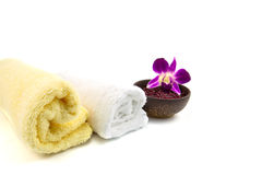 Spa and wellness. With flowers and towel royalty free stock photos