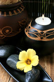 Spa And Wellness Image. Yellow flower with zen stone Royalty Free Stock Image