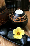 Spa And Wellness Image. Yellow flower with zen stone Royalty Free Stock Photos