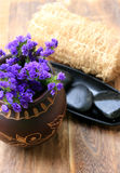 Spa And Wellness Image. Lavender flower with zen stone Royalty Free Stock Photos