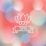 Spa wellness label on blurred background Stock Photography