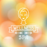 Spa wellness label on blurred background Stock Image