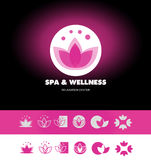 Spa wellness lotus flower logo icon Stock Photos