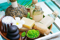 Spa and wellness massage setting, candle, stones. royalty free stock photography